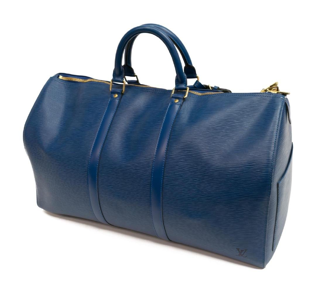 LOUIS VUITTON 'KEEPALL' BLUE EPI LEATHER DUFFLE - 2