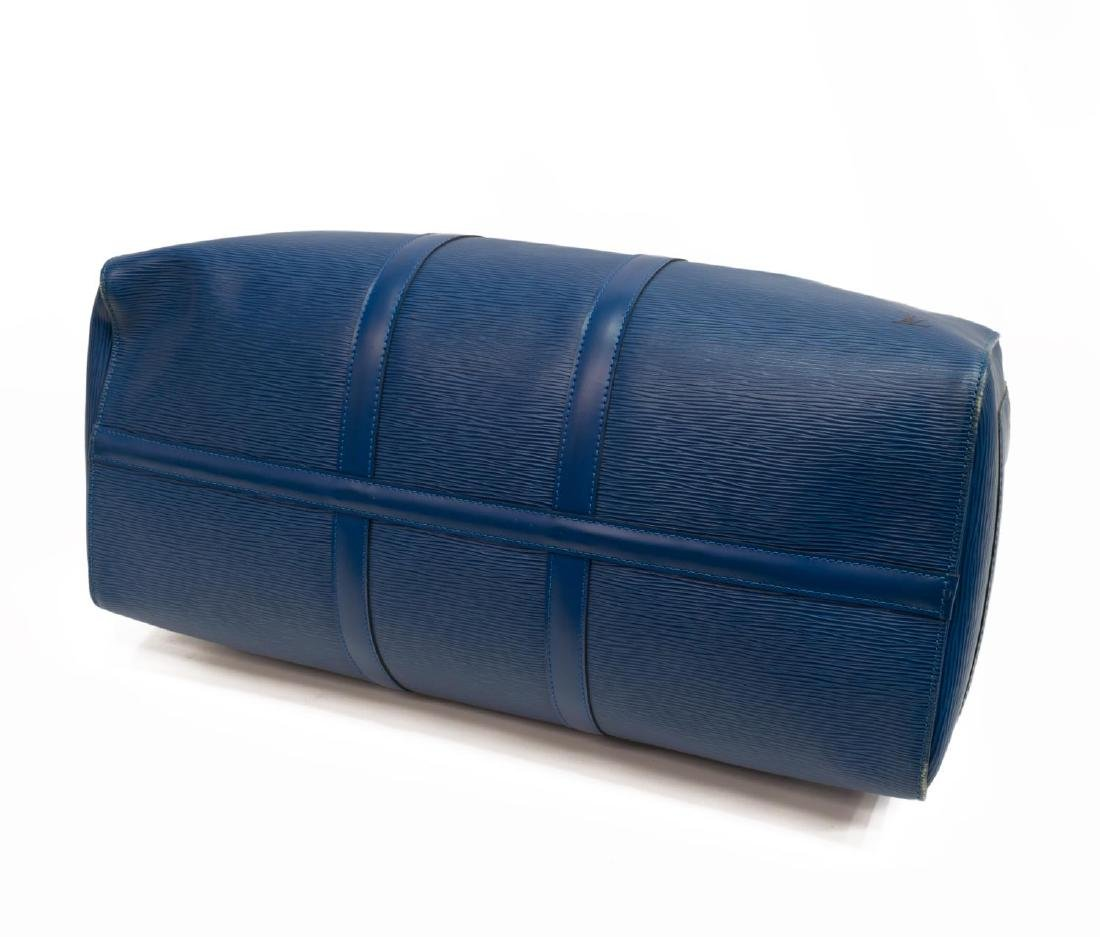 LOUIS VUITTON 'KEEPALL' BLUE EPI LEATHER DUFFLE - 3