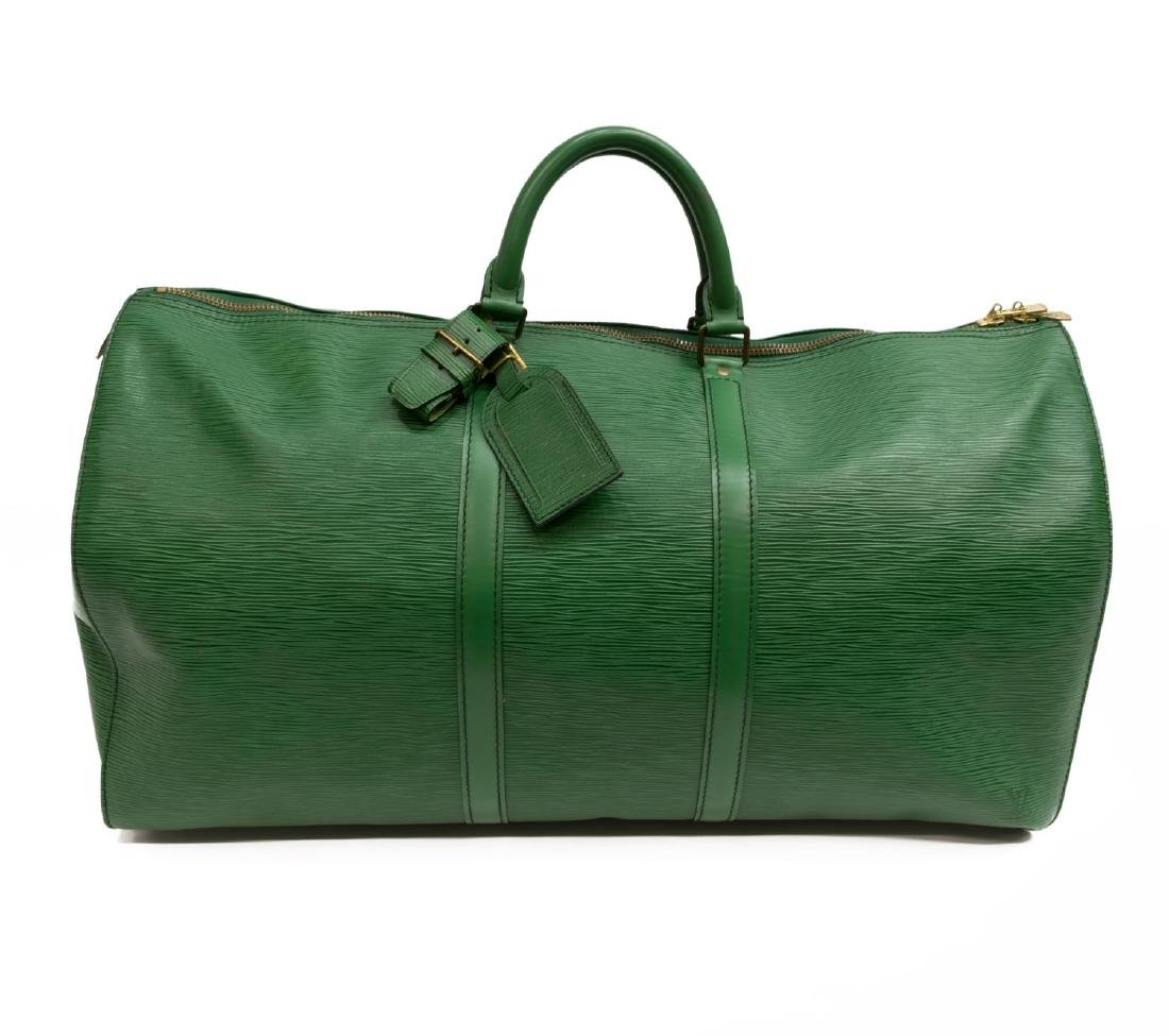 LOUIS VUITTON 'KEEPALL 55' GREEN EPI DUFFLE BAG
