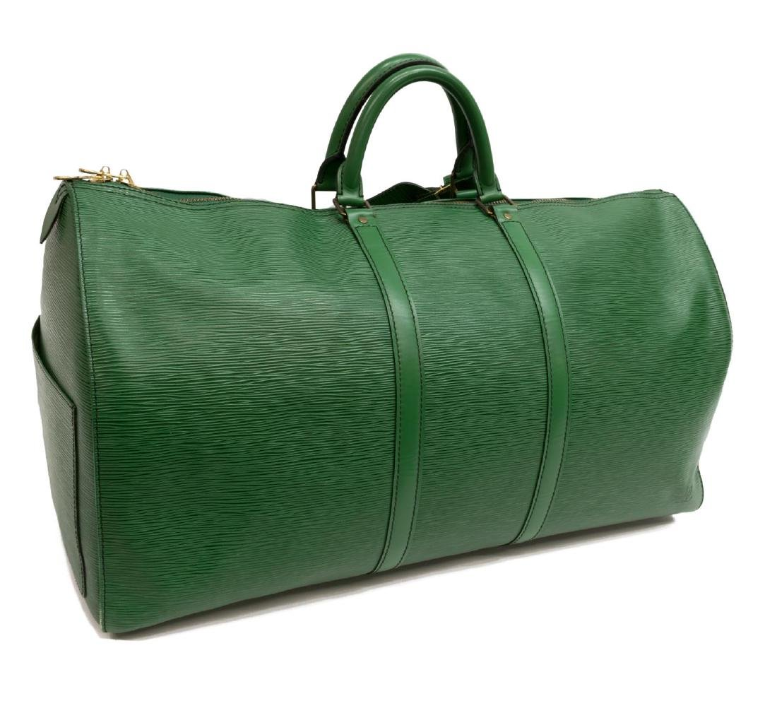 LOUIS VUITTON 'KEEPALL 55' GREEN EPI DUFFLE BAG - 2