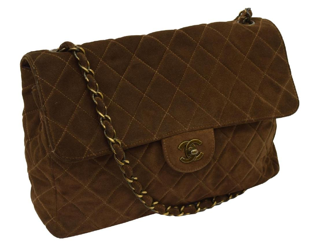 CHANEL 'JUMBO FLAP TOP' QUILTED BROWN SUEDE BAG