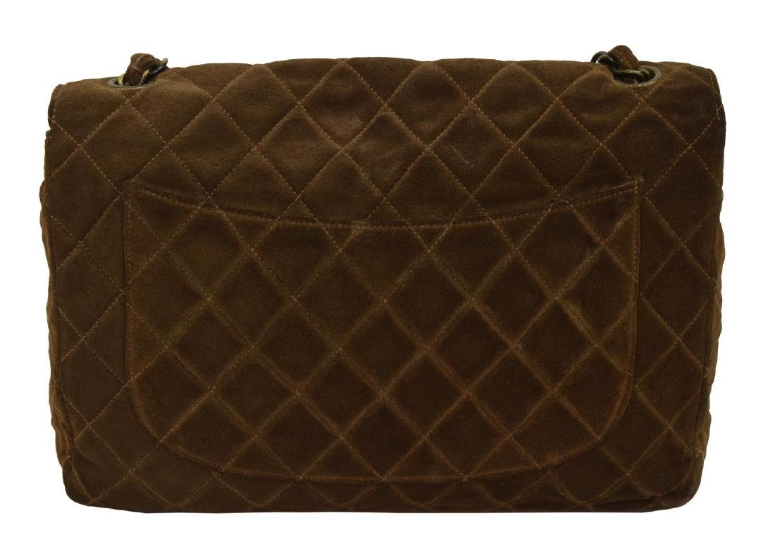 CHANEL 'JUMBO FLAP TOP' QUILTED BROWN SUEDE BAG - 2