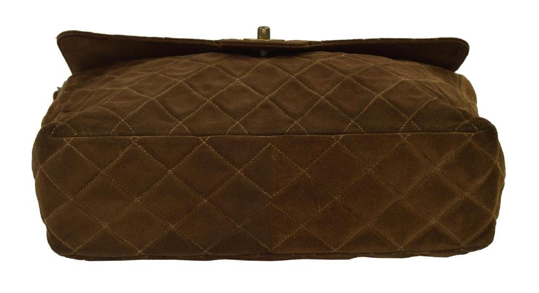 CHANEL 'JUMBO FLAP TOP' QUILTED BROWN SUEDE BAG - 3