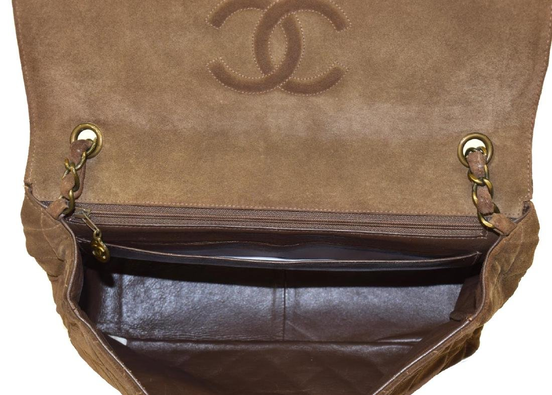 CHANEL 'JUMBO FLAP TOP' QUILTED BROWN SUEDE BAG - 5