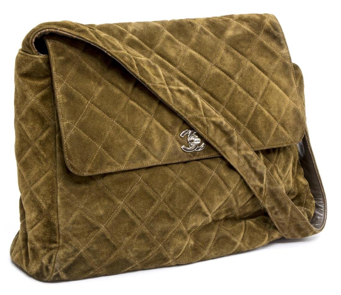CHANEL SQUARE QUILTED BROWN SUEDE SHOULDER BAG