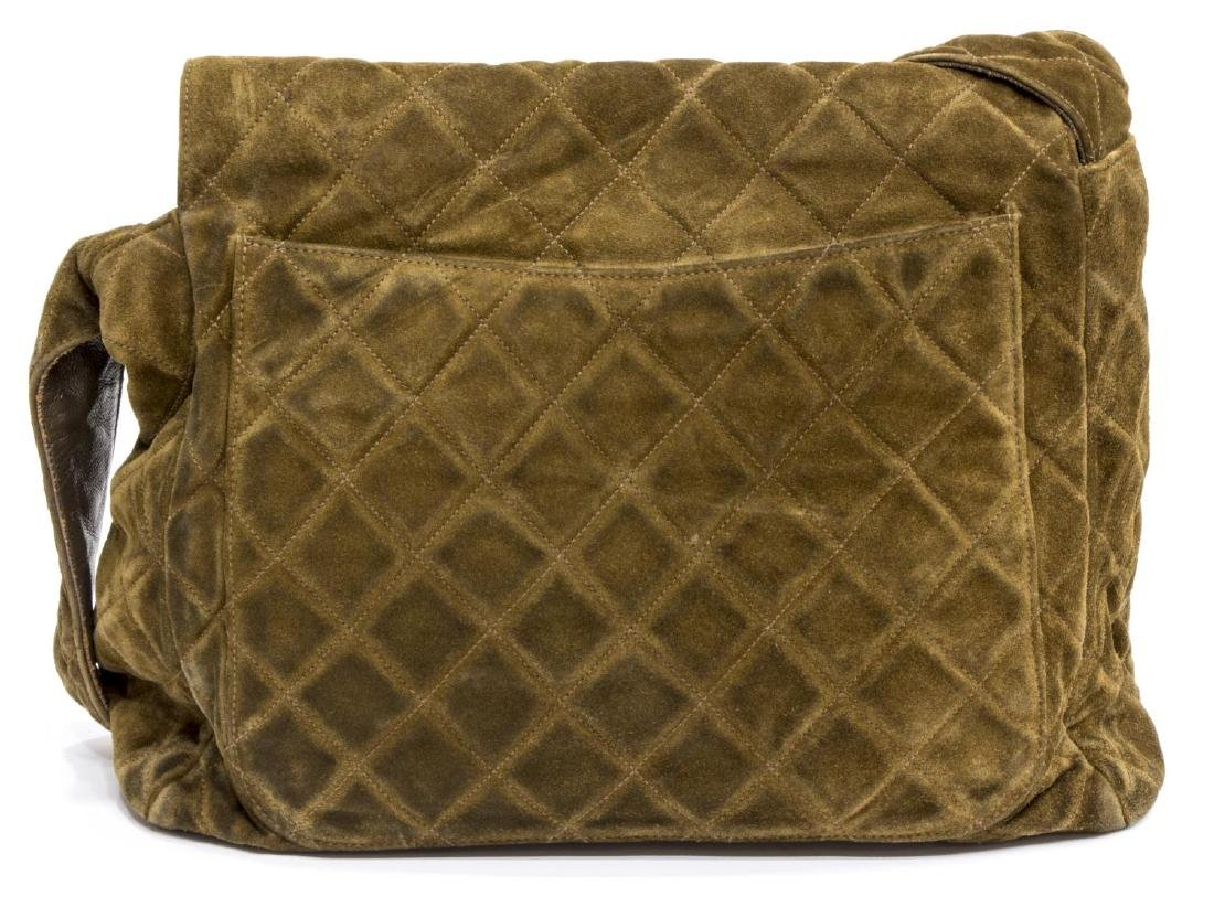 CHANEL SQUARE QUILTED BROWN SUEDE SHOULDER BAG - 2
