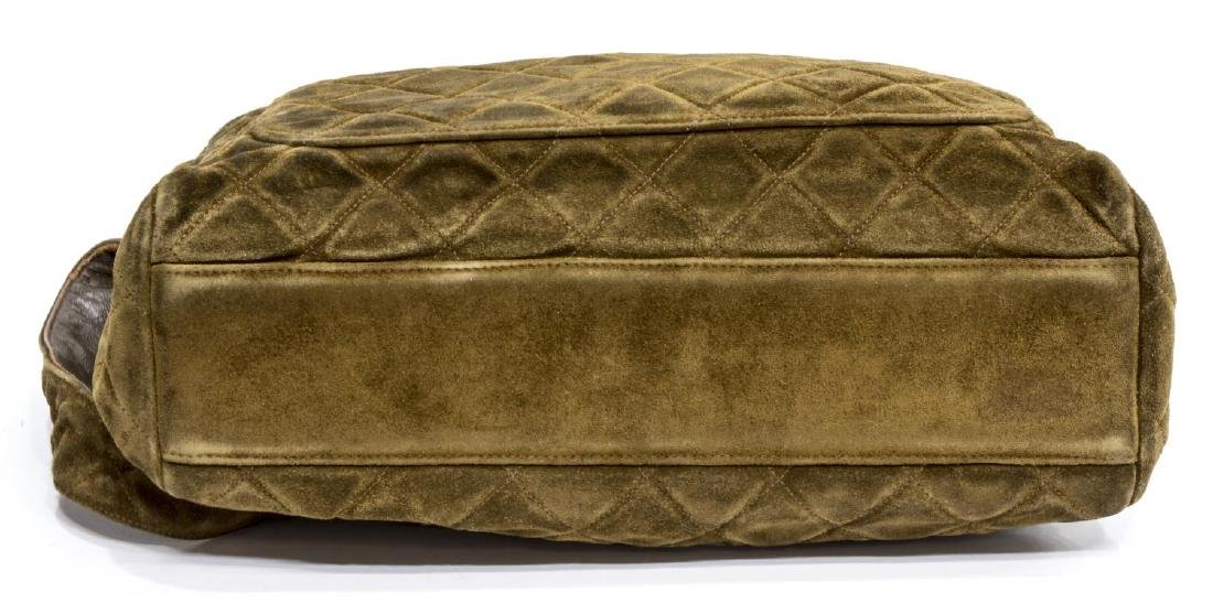 CHANEL SQUARE QUILTED BROWN SUEDE SHOULDER BAG - 3