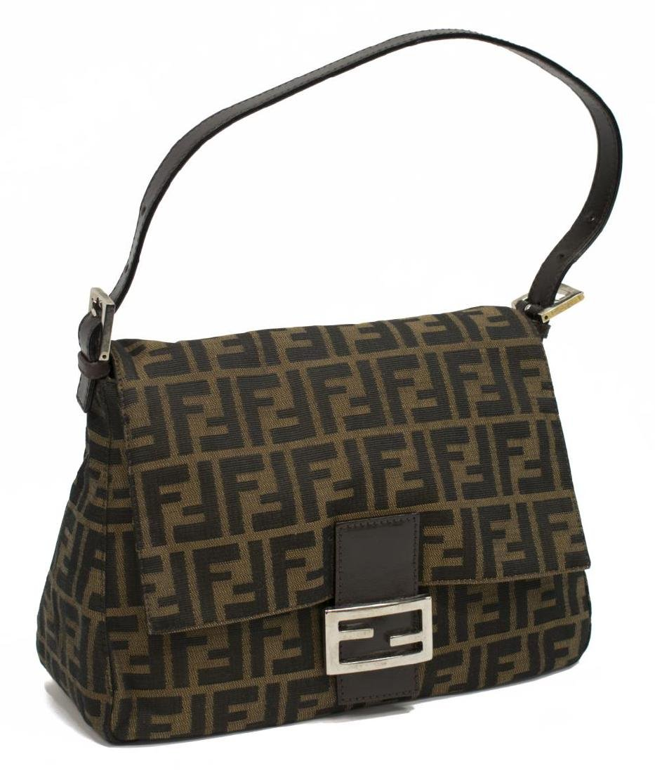 FENDI 'MAMA' BAGUETTE BROWN MONOGRAM CANVAS BAG