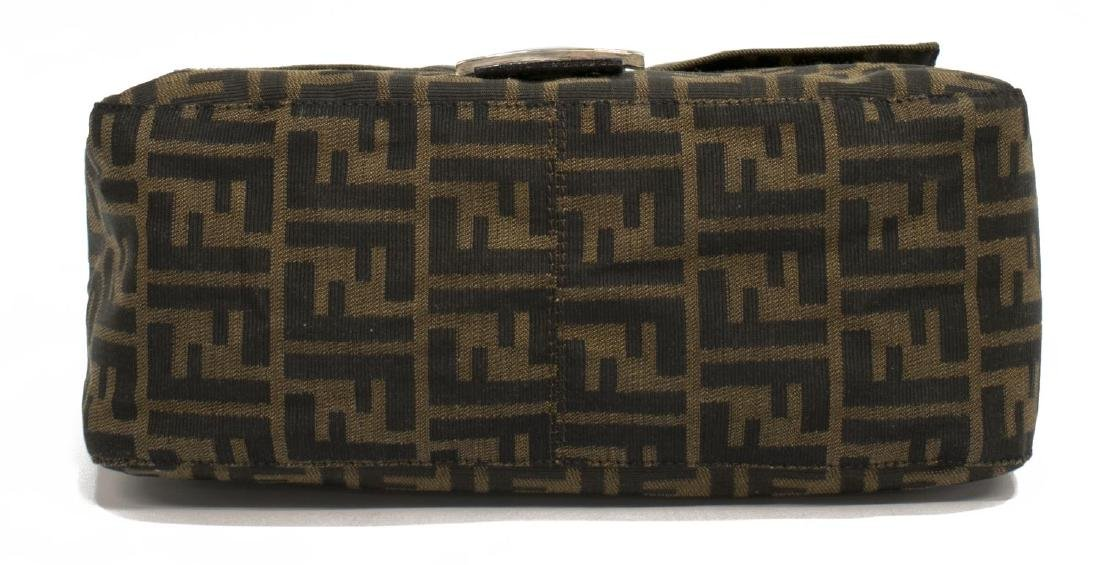 FENDI 'MAMA' BAGUETTE BROWN MONOGRAM CANVAS BAG - 3
