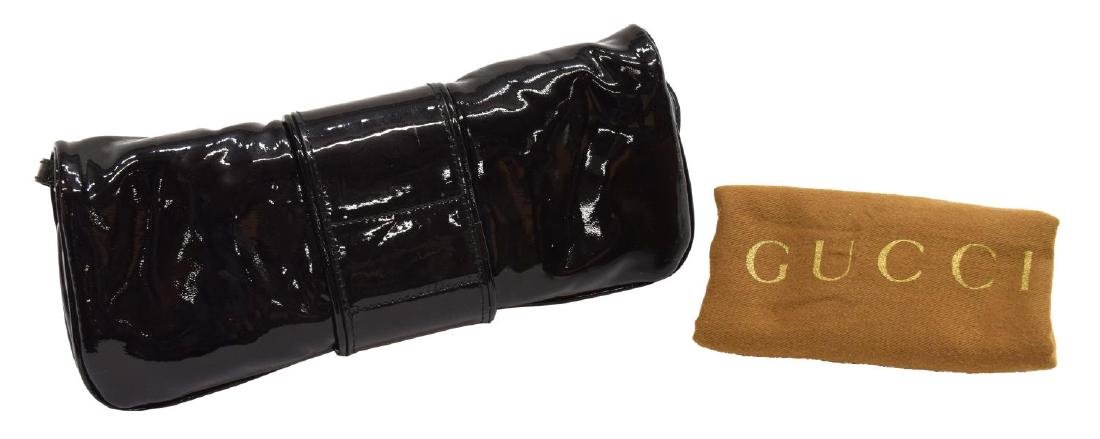 GUCCI BLACK PATENT LEATHER HYSTERIA CLUTCH WALLET - 2