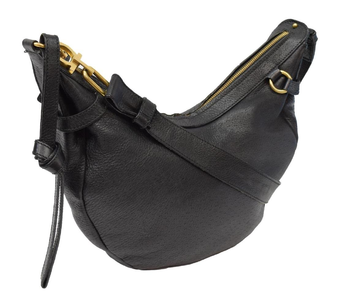 FERRAGAMO GRAINED & TEXTURED LEATHER SHOULDER BAG
