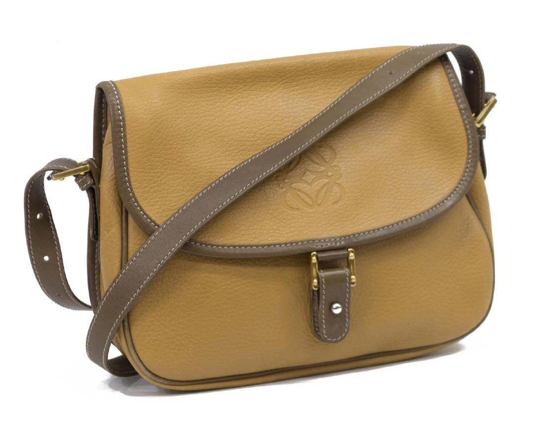 LOEWE YELLOW AND TAN LEATHER CROSS BODY BAG