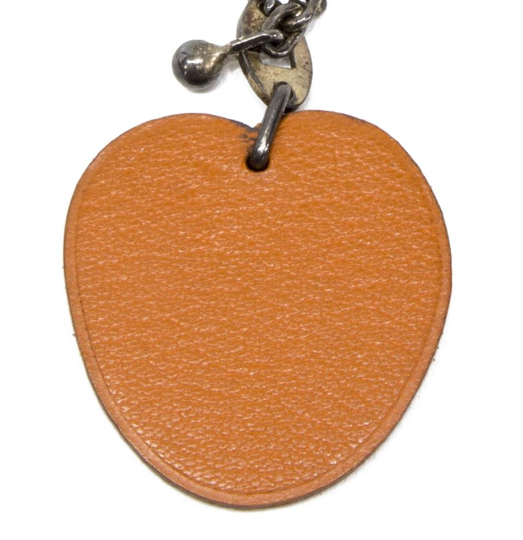 HERMES PEACH LEATHER KEYCHAIN BAG CHARM - 2