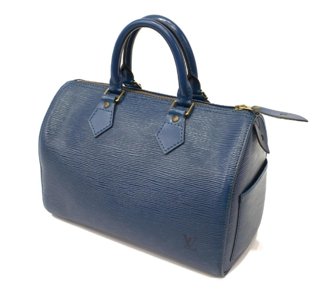 LOUIS VUITTON 'SPEEDY' BLUE EPI LEATHER HANDBAG