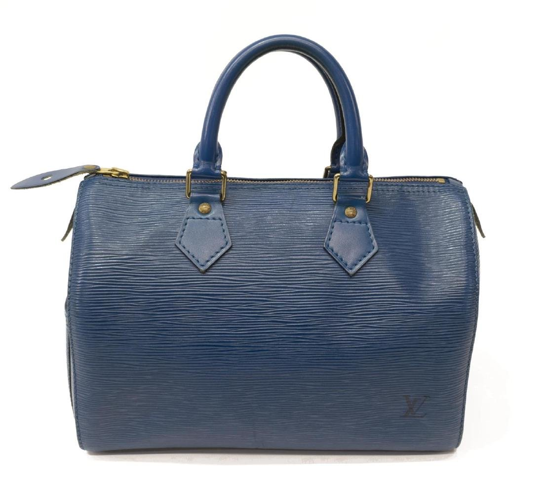 LOUIS VUITTON 'SPEEDY' BLUE EPI LEATHER HANDBAG - 2