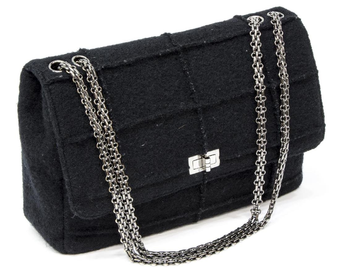 CHANEL 'IDENTIFICATION' BLACK QUILTED WOOL HANDBAG