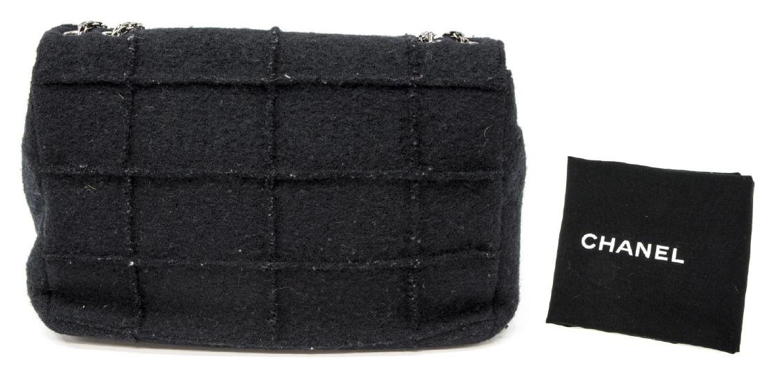 CHANEL 'IDENTIFICATION' BLACK QUILTED WOOL HANDBAG - 2
