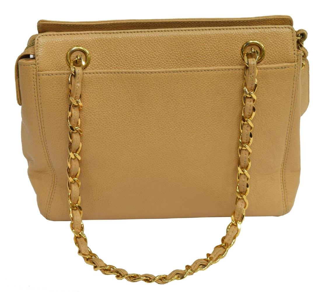 CHANEL BEIGE CAVIAR LEATHER SHOULDER BAG - 2