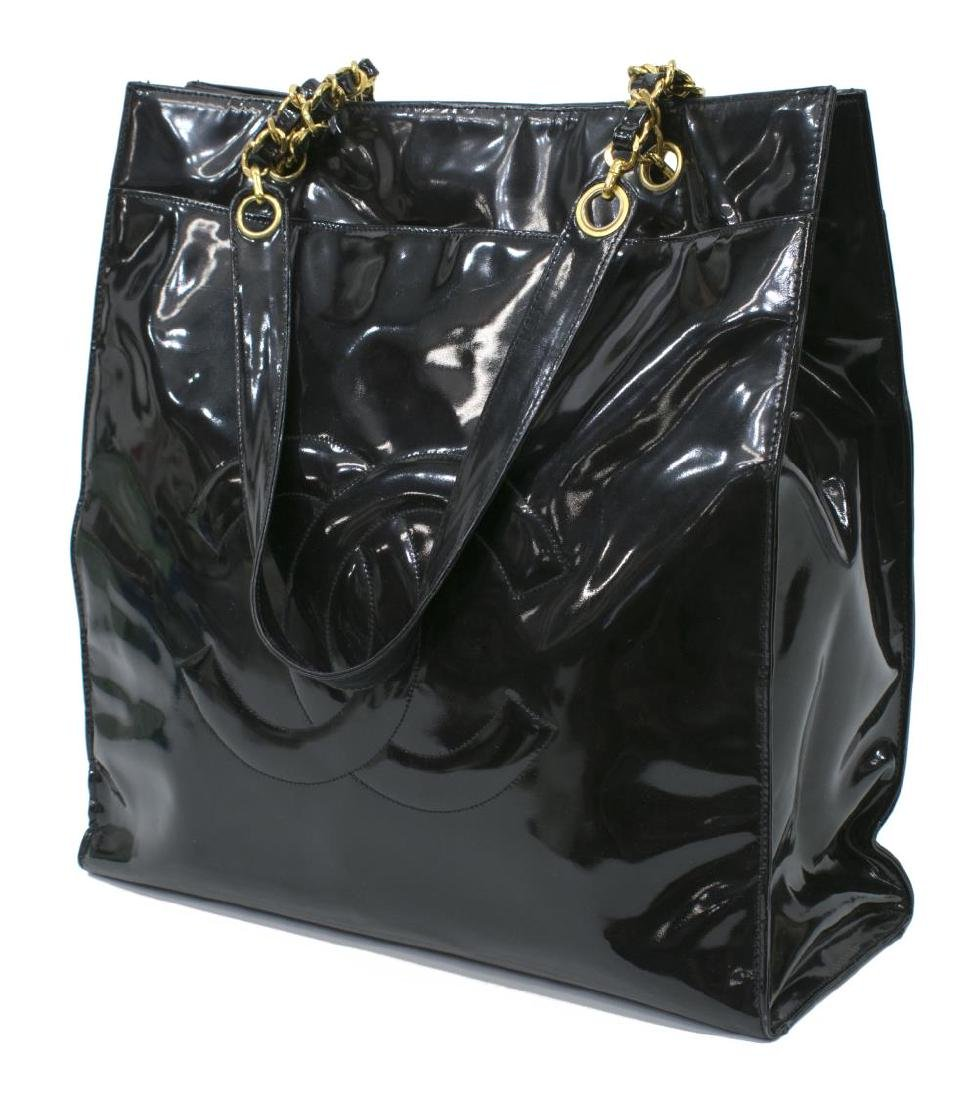 CHANEL BLACK PATENT LEATHER CC TALL TOTE BAG