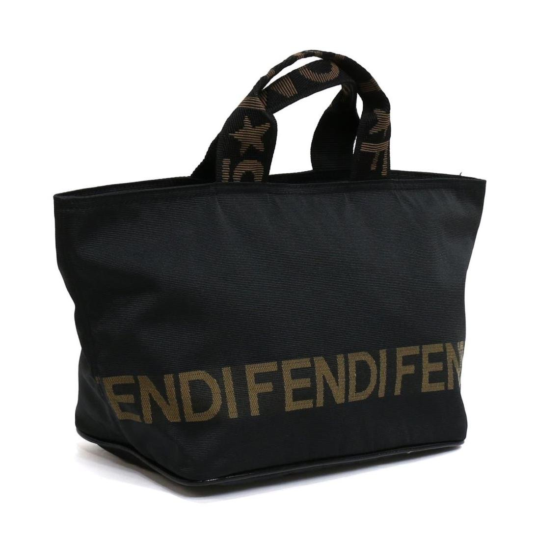 FENDI BLACK CANVAS TOTE HANDBAG