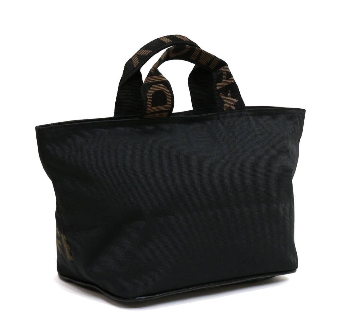 FENDI BLACK CANVAS TOTE HANDBAG - 2