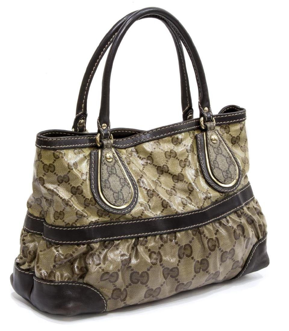 GUCCI BROWN COATED CANVAS MONOGRAM CRYSTAL TOTE