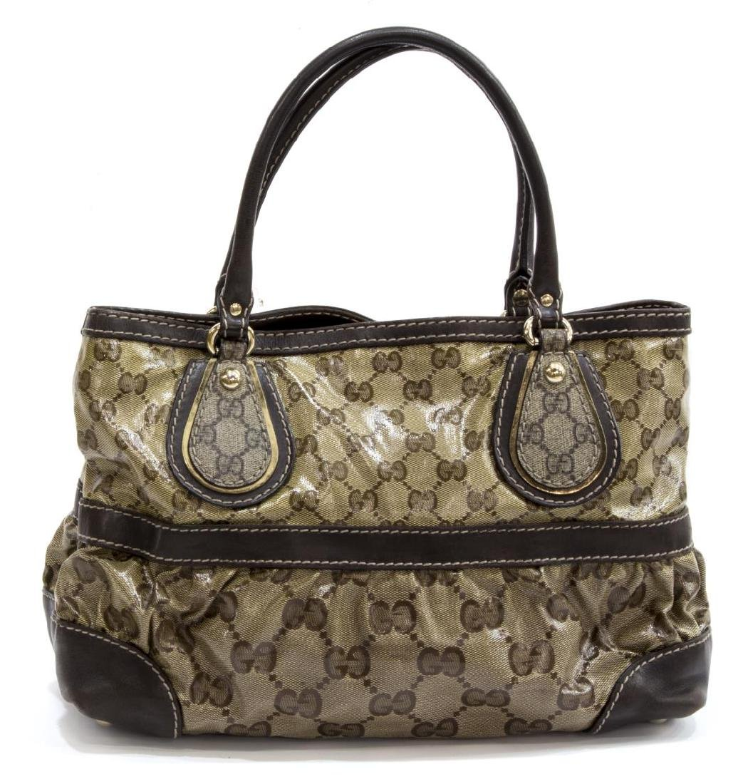 GUCCI BROWN COATED CANVAS MONOGRAM CRYSTAL TOTE - 2