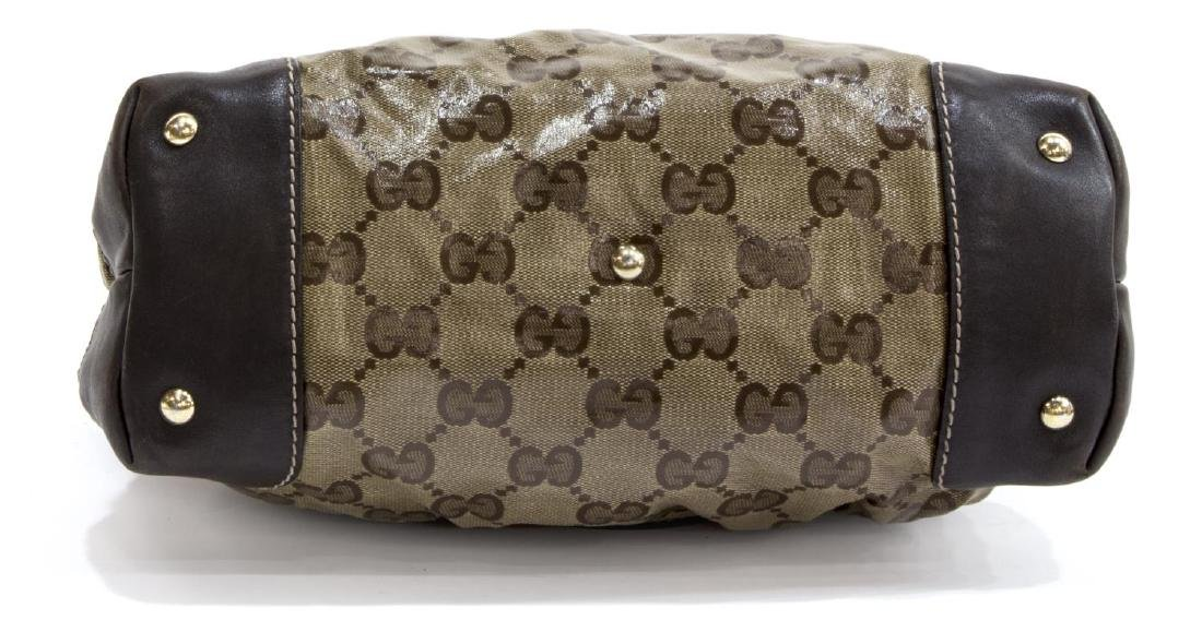 GUCCI BROWN COATED CANVAS MONOGRAM CRYSTAL TOTE - 3