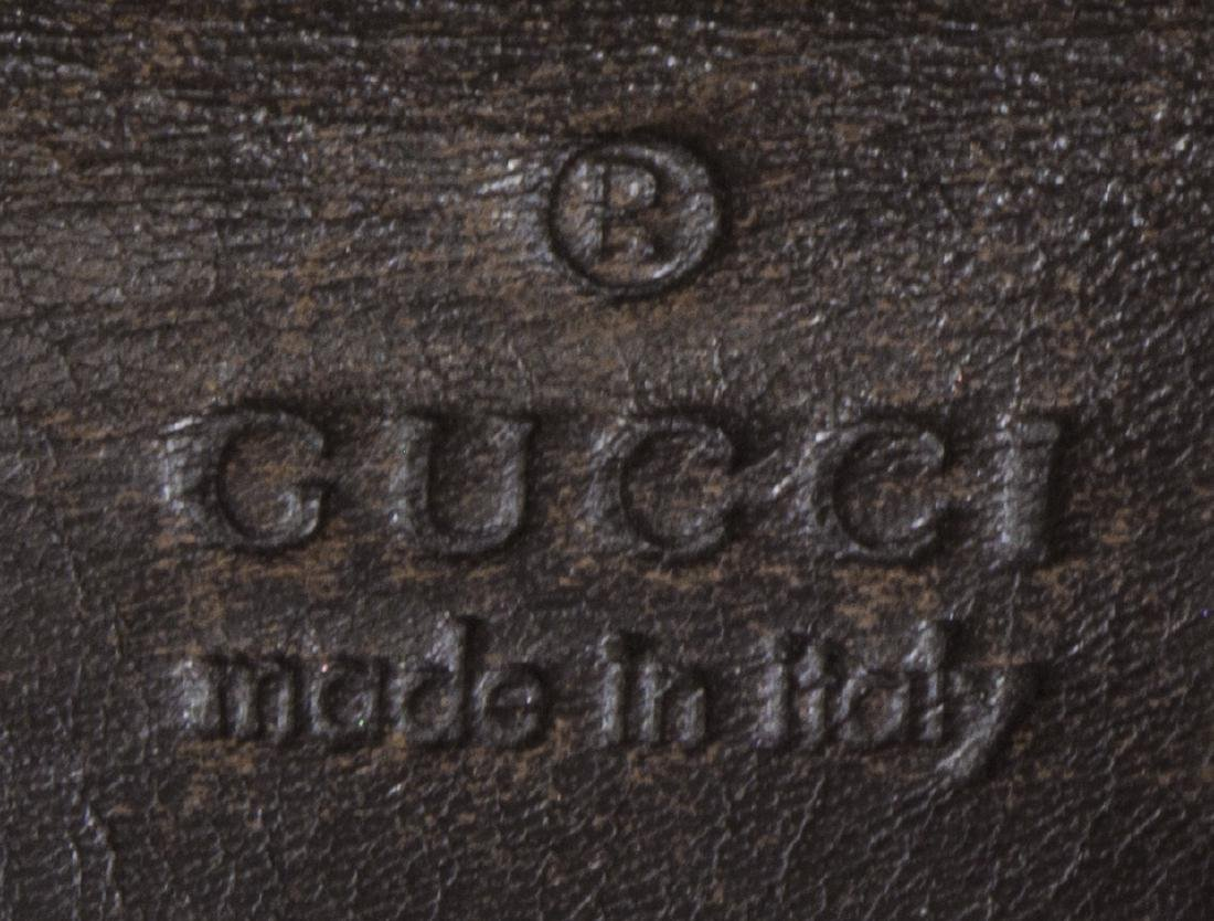 GUCCI BROWN COATED CANVAS MONOGRAM CRYSTAL TOTE - 5