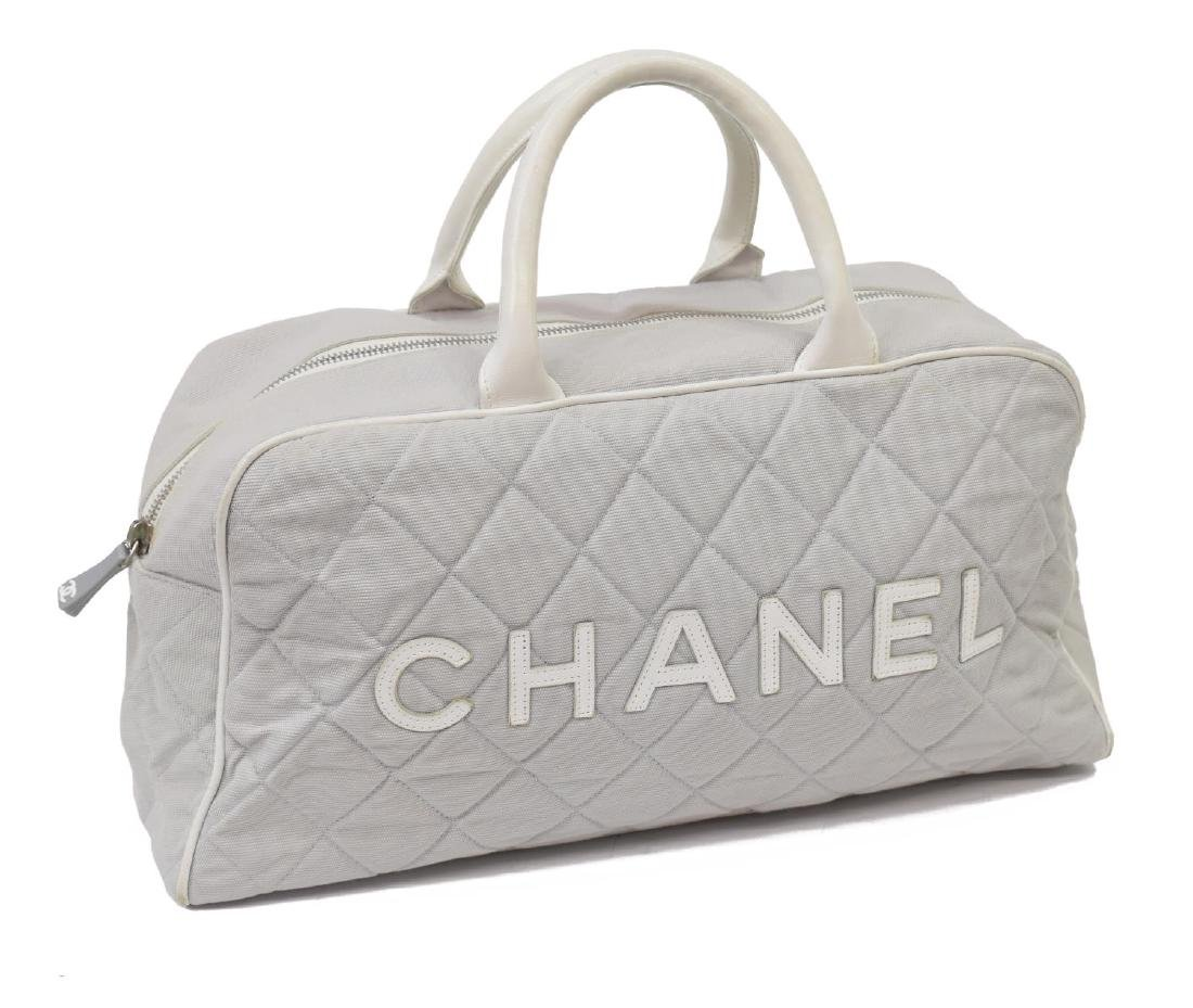CHANEL GREY QUILTED CANVAS SPORTS LINE BOSTON BAG