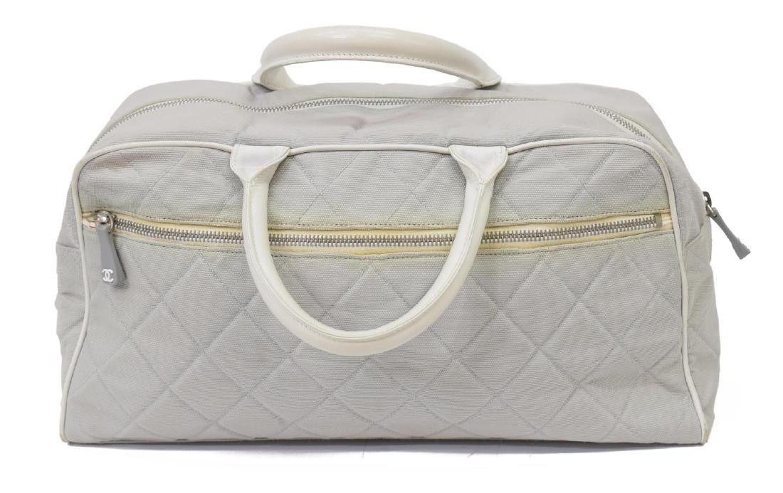 CHANEL GREY QUILTED CANVAS SPORTS LINE BOSTON BAG - 2