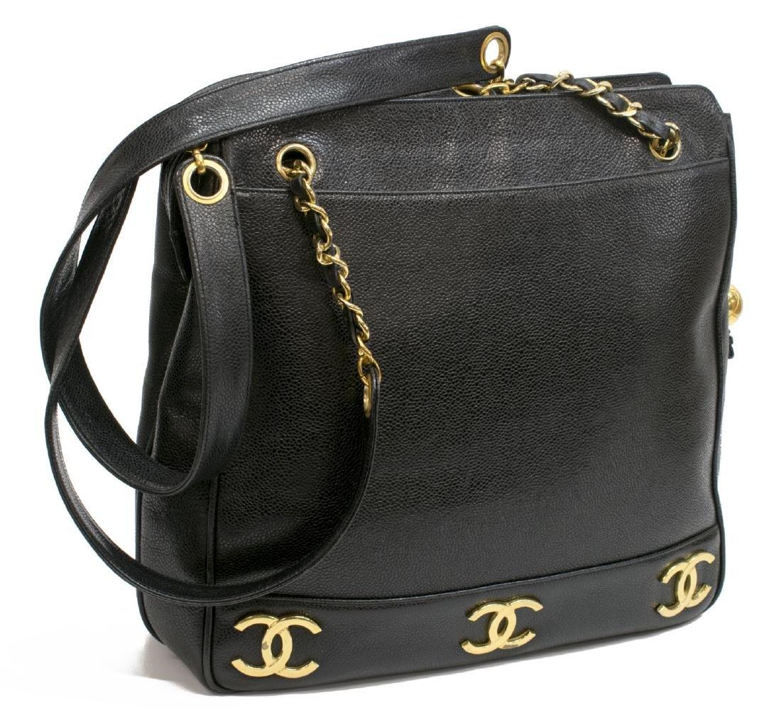 CHANEL VINTAGE BLACK LEATHER CC SHOPPING TOTE BAG