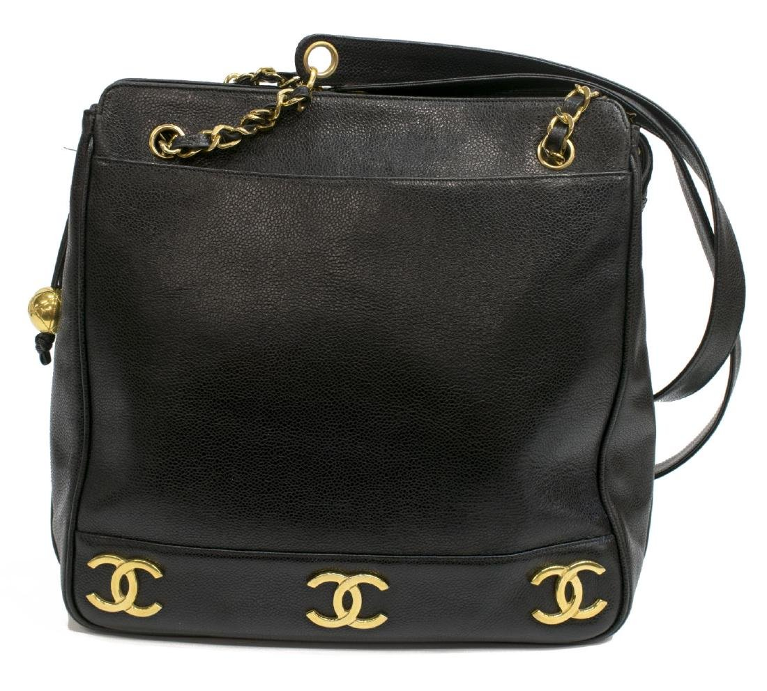 CHANEL VINTAGE BLACK LEATHER CC SHOPPING TOTE BAG - 2