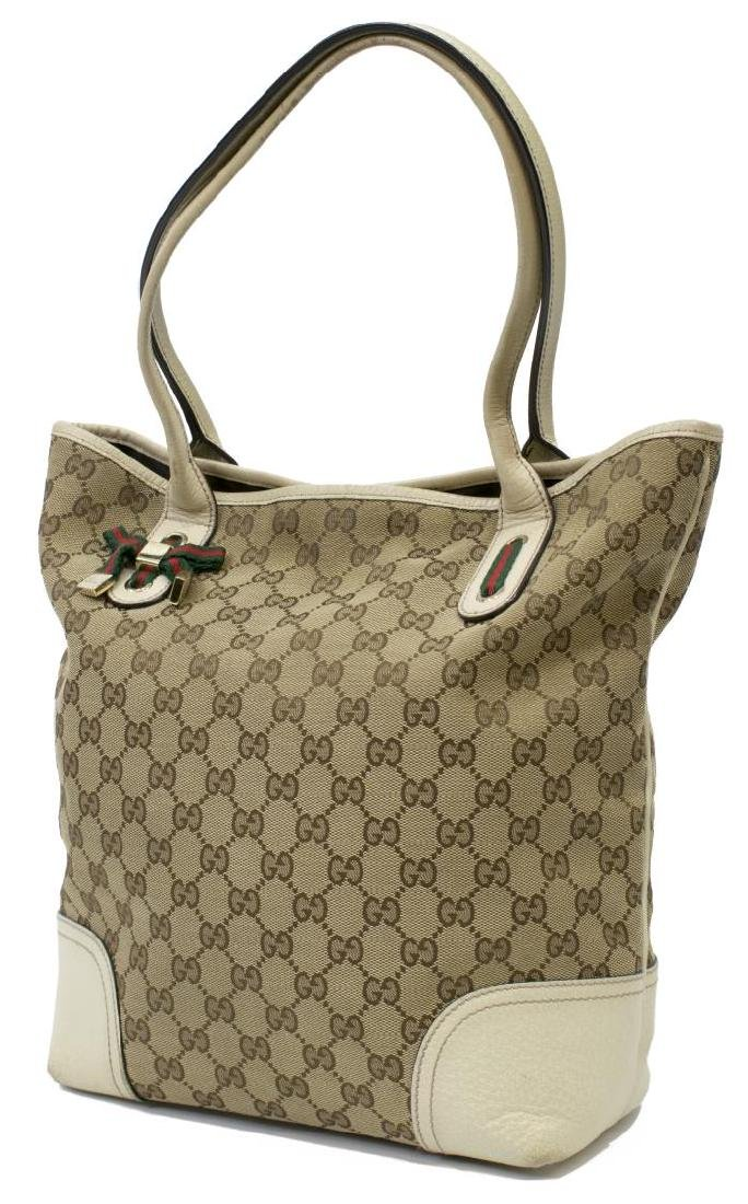 GUCCI PRINCY GG CANVAS & LEATHER TALL TOTE BAG