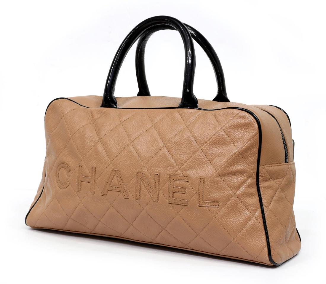 CHANEL DUSTY PINK & BLACK QUILTED LEATHER HAND BAG