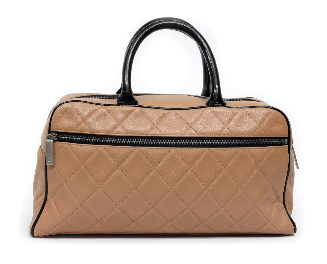 CHANEL DUSTY PINK & BLACK QUILTED LEATHER HAND BAG - 2