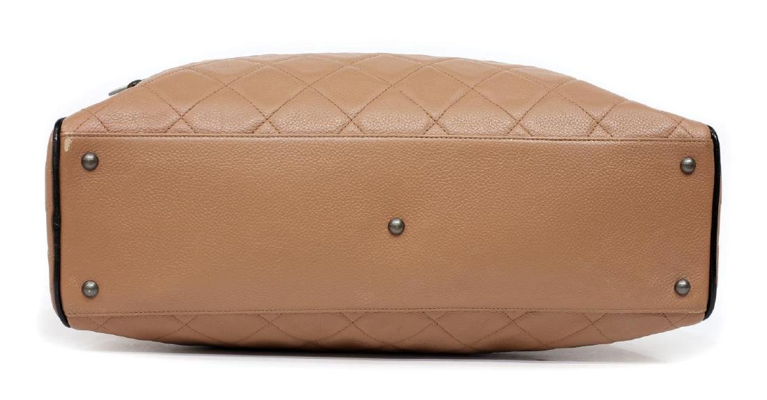 CHANEL DUSTY PINK & BLACK QUILTED LEATHER HAND BAG - 3