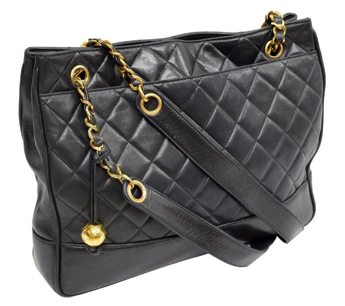 CHANEL NAVY QUILTED LEATHER SHOULDER BAG