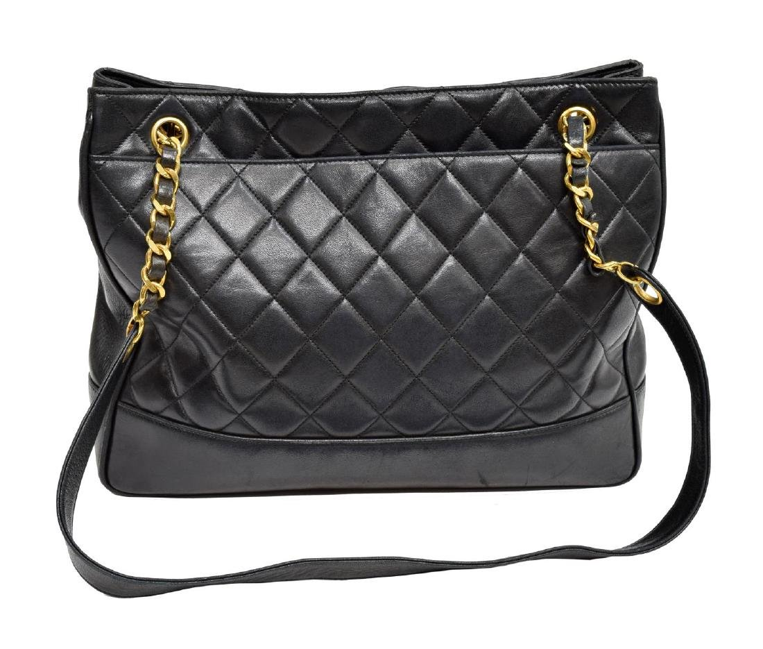 CHANEL NAVY QUILTED LEATHER SHOULDER BAG - 2