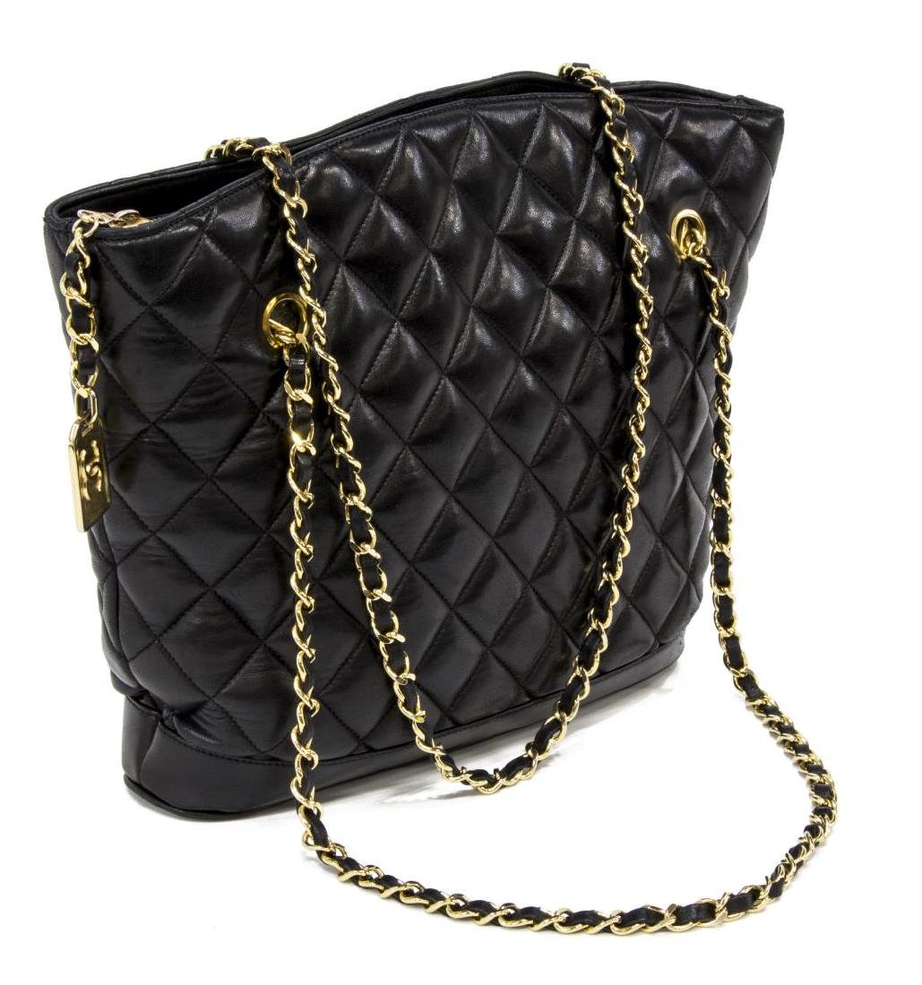 CHANEL BLACK QUILTED LEATHER SHOPPING TOTE BAG