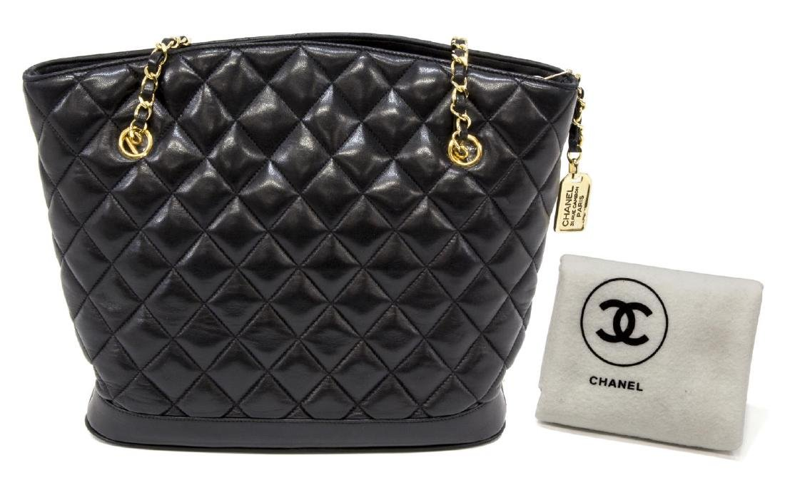 CHANEL BLACK QUILTED LEATHER SHOPPING TOTE BAG - 2