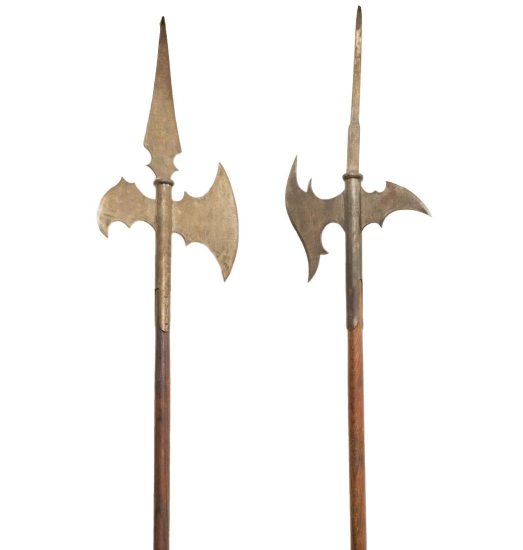(2) CONTINENTAL HALBERDS STAFF AXES