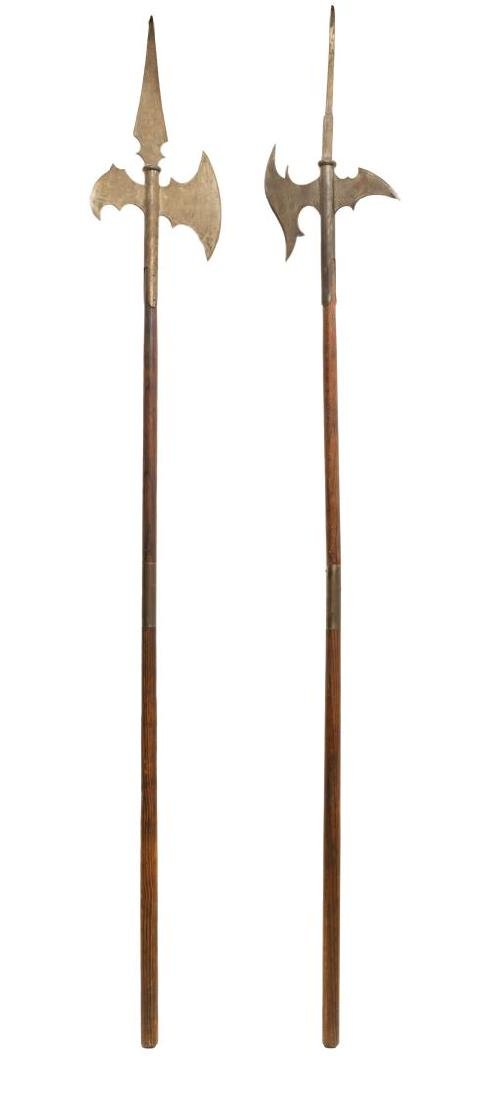 (2) CONTINENTAL HALBERDS STAFF AXES - 2