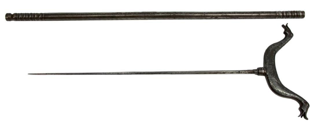 ANTIQUE RIFLE REST WITH HIDDEN SWORD - 2