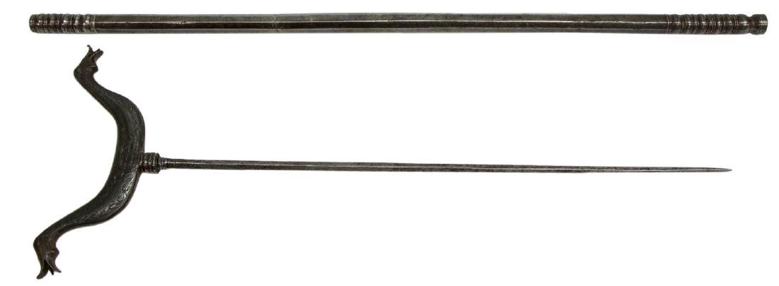 ANTIQUE RIFLE REST WITH HIDDEN SWORD - 4