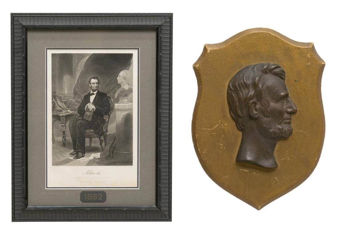 (2) LINCOLN 1862 ENGRAVING & BRASS LINCOLN PLAQUE