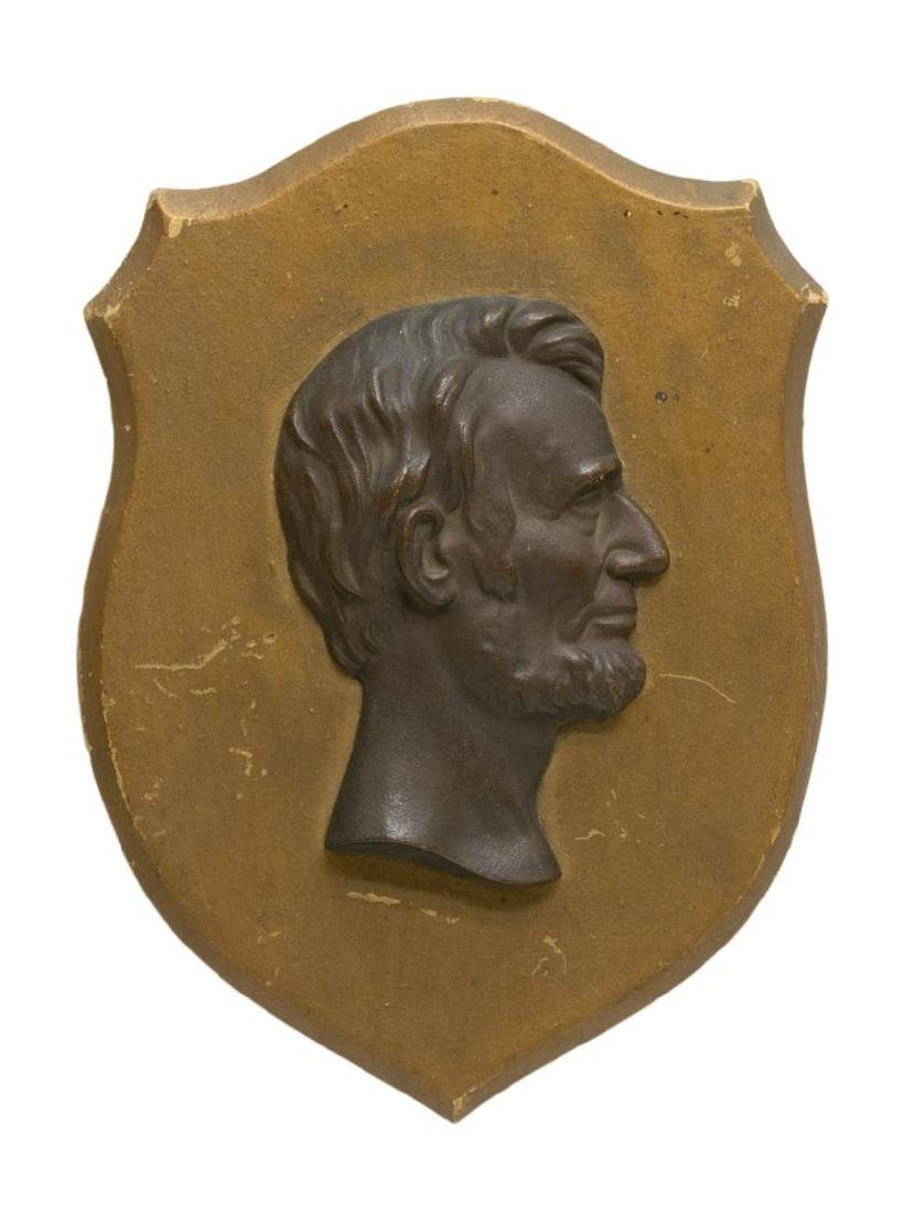 (2) LINCOLN 1862 ENGRAVING & BRASS LINCOLN PLAQUE - 2
