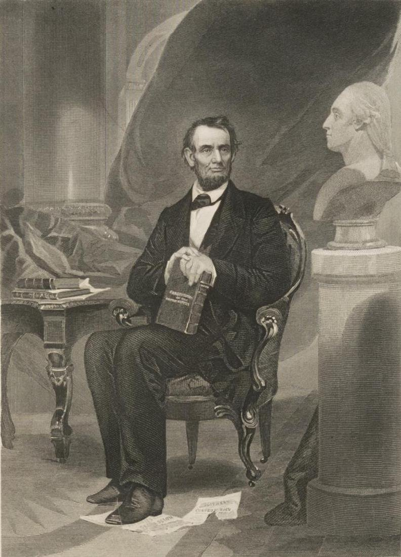 (2) LINCOLN 1862 ENGRAVING & BRASS LINCOLN PLAQUE - 3