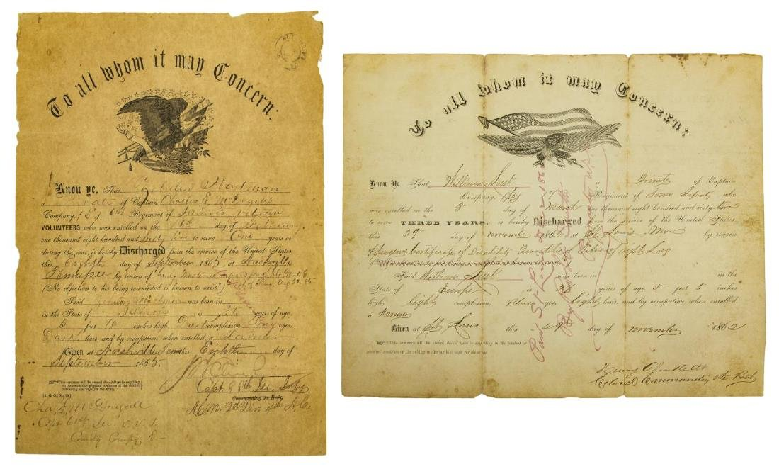 (2) U.S. CIVIL WAR MILITARY DISCHARGE CERTIFICATES