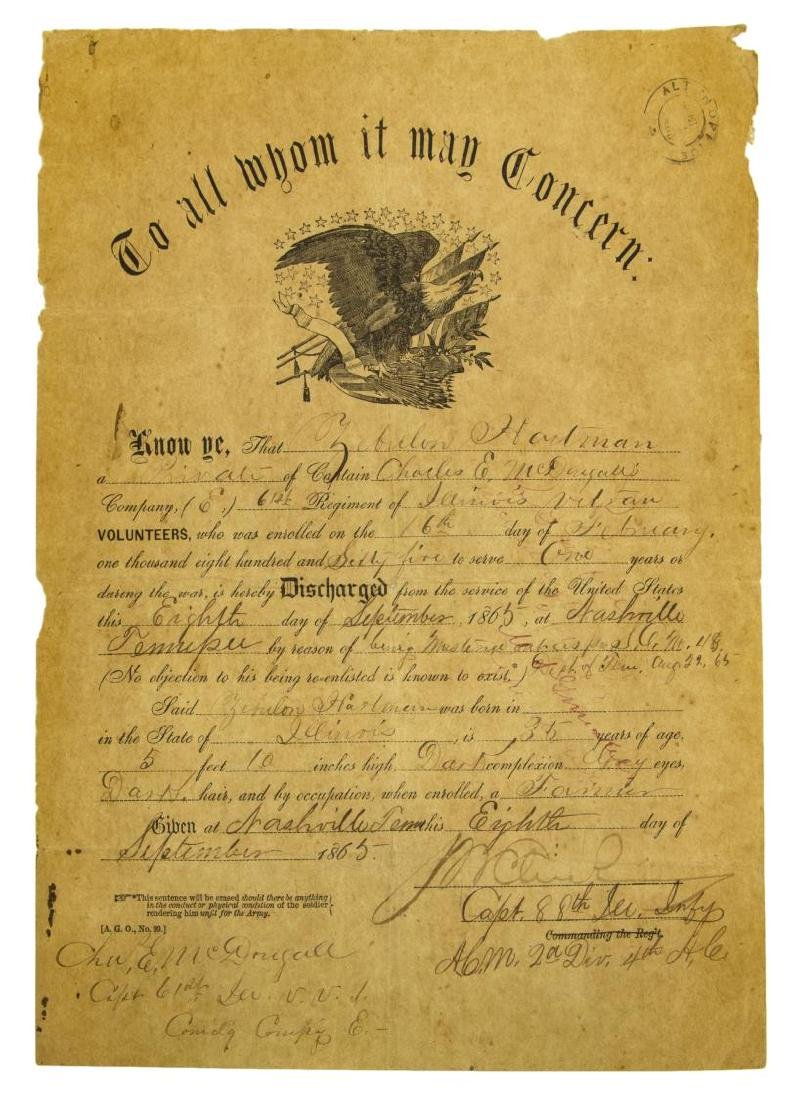(2) U.S. CIVIL WAR MILITARY DISCHARGE CERTIFICATES - 2